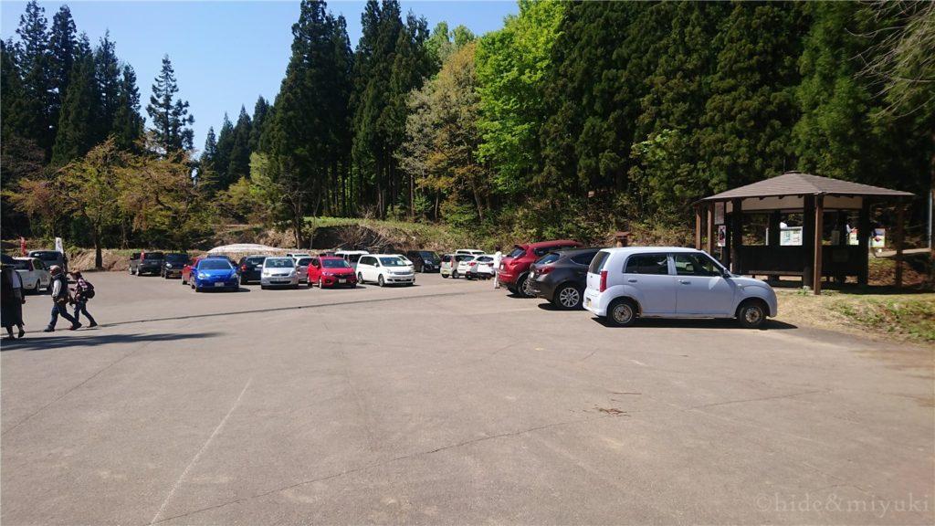 美人林の駐車場の様子